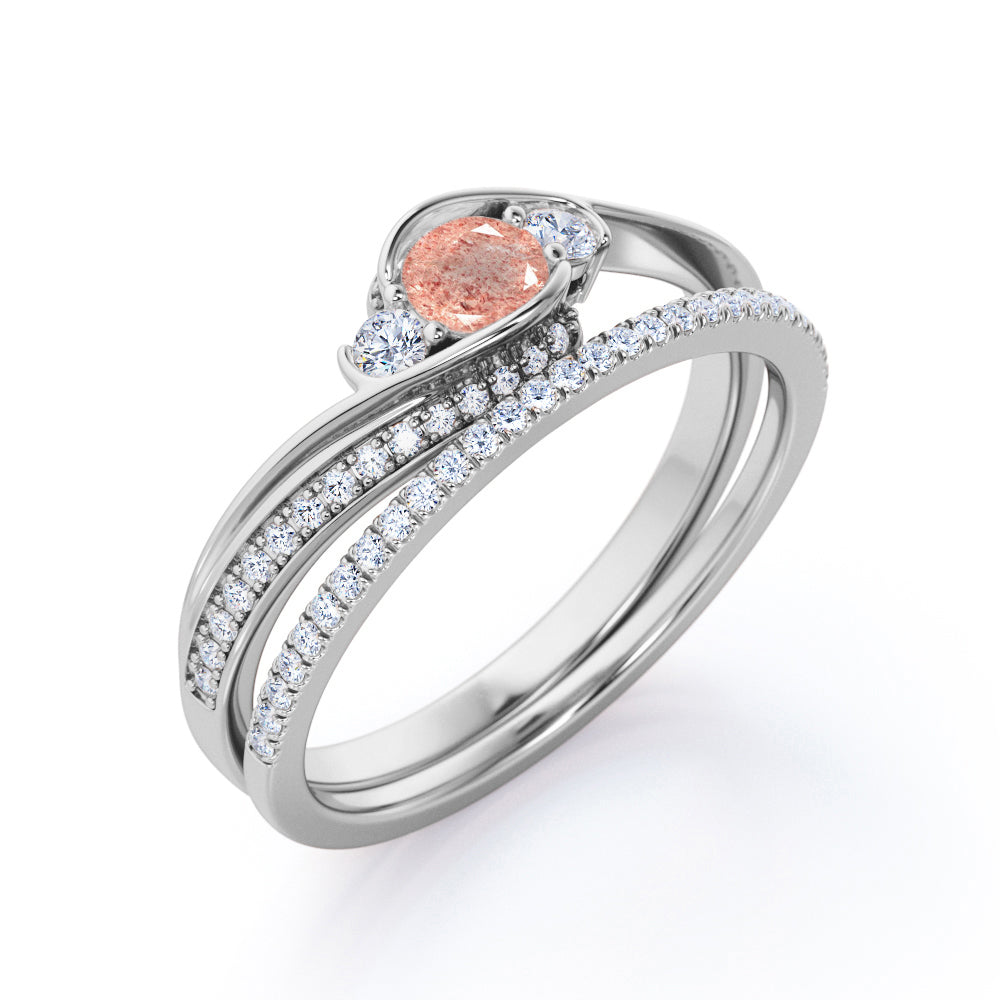 Unusual Bypass 1.75 Carat Round Cut Sparkling Orange Pink Strawberry Quartz with Diamond Half Eternity Pave Band Wedding Ring Sets