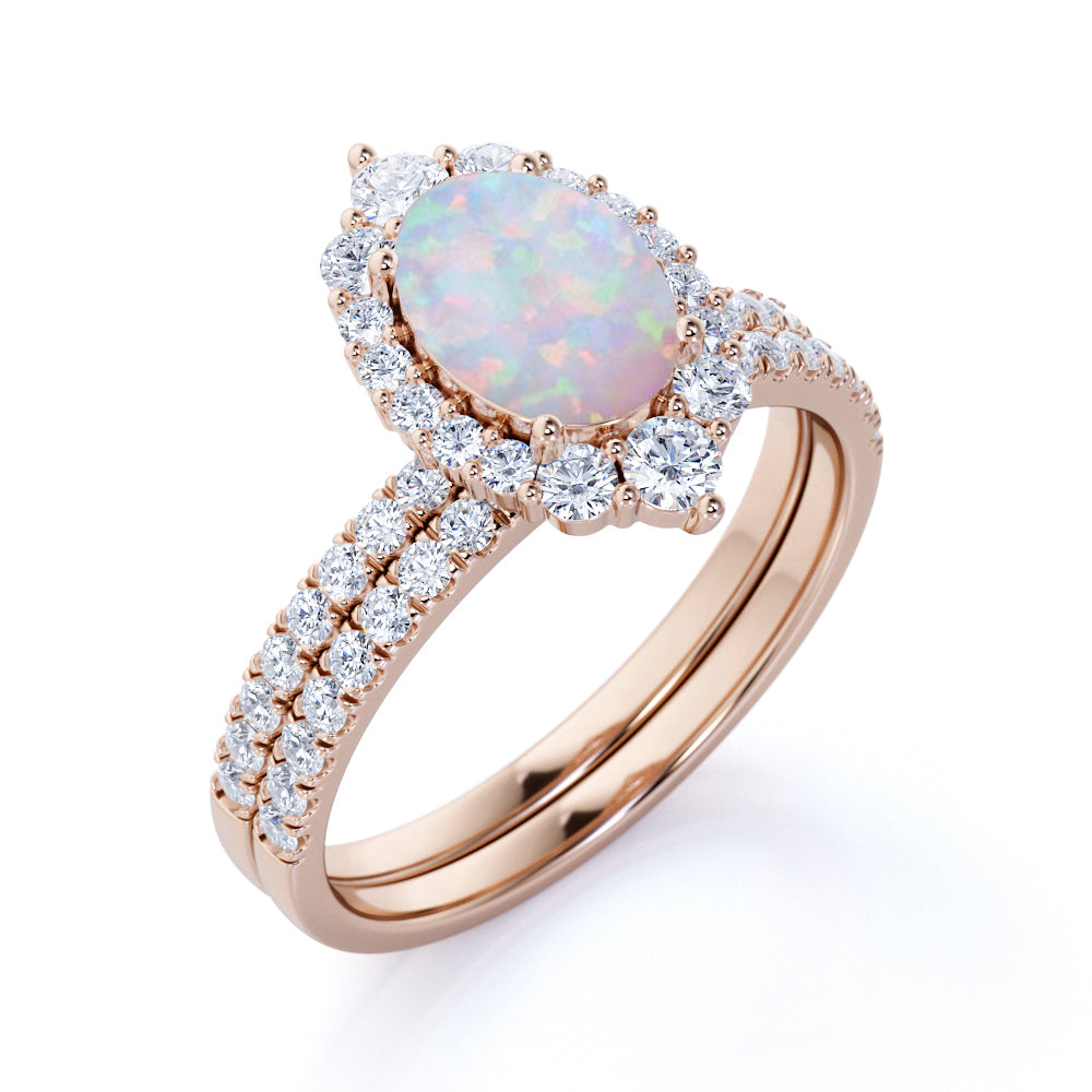 Cluster 2 Carat Oval Shape Fire Opal and Halo Diamond Wedding Set With Antique Art Deco Band in Rose Gold