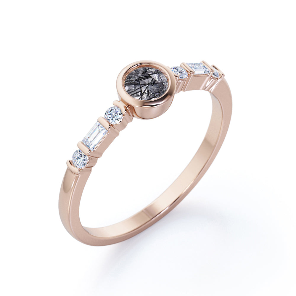 Modern Bezel Set 1.25 Carat Round Cut Solid Natural Dendritic Black Rutilated Quartz and Diamond Dainty Engagement Ring for Her