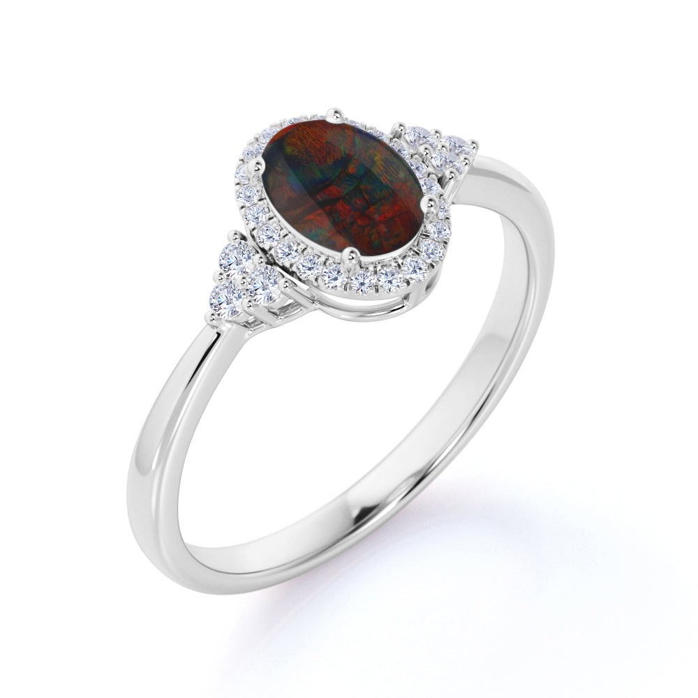 Unique 1.50 Carat Oval Cut Natural Dark Black Opal and Diamond Halo Cluster Engagement Ring in White Gold for Women