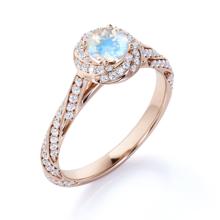 1.25 Carat Round Moonstone and Diamond Engagement Ring in Rose Gold - Blue Moonstone Ring
