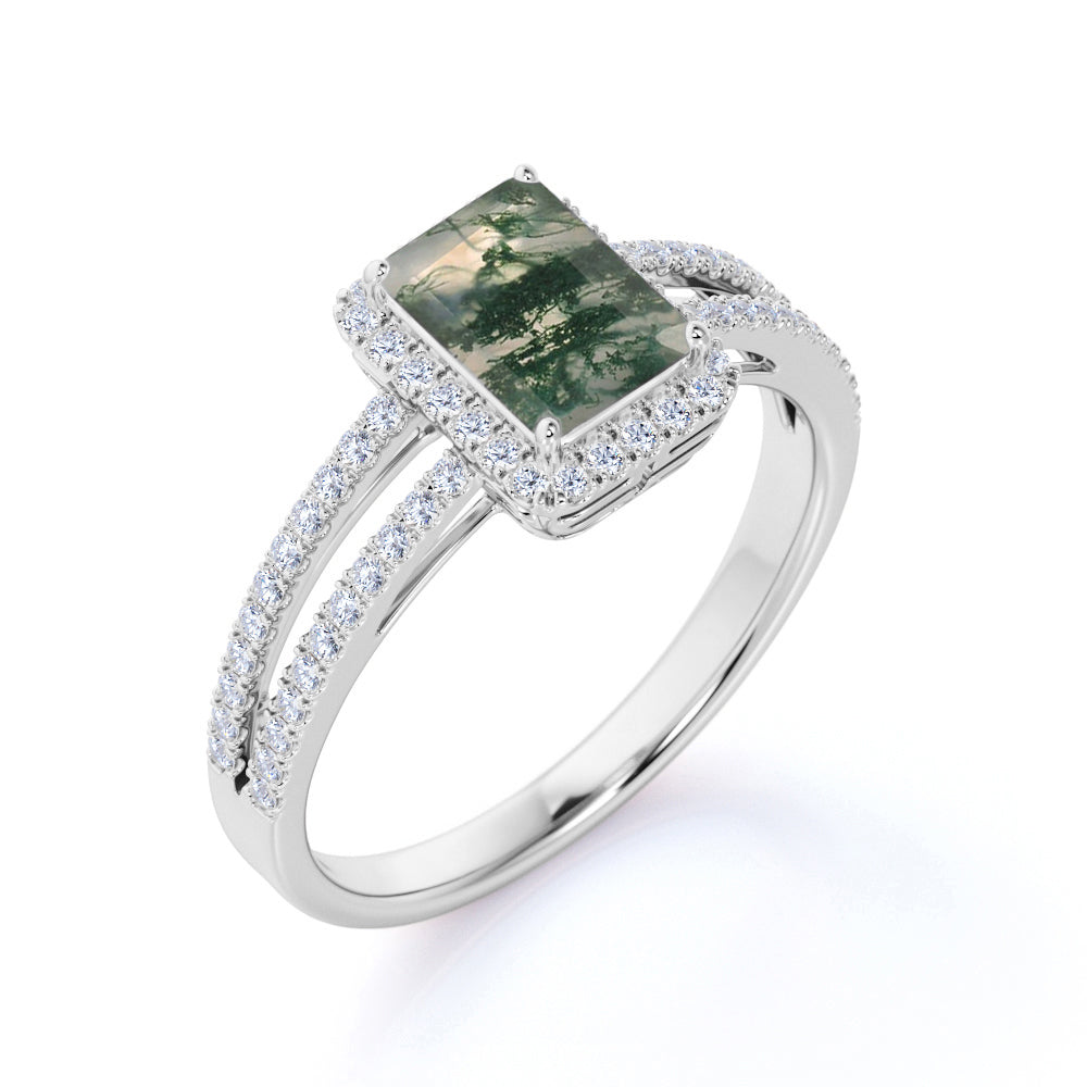 Classic Double Shank Halo 1.75 Carat Emerald Cut Transparent Druzy Moss Green Agate and Diamond Pave Engagement Ring