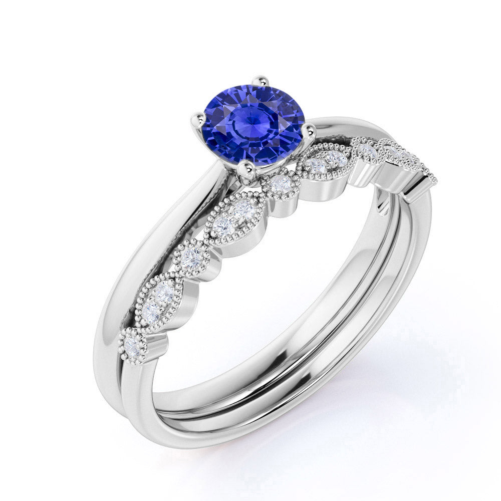 Artdeco 1.25 Carat Round cut Sapphire and Diamond Wedding Bridal Ring Set in White Gold