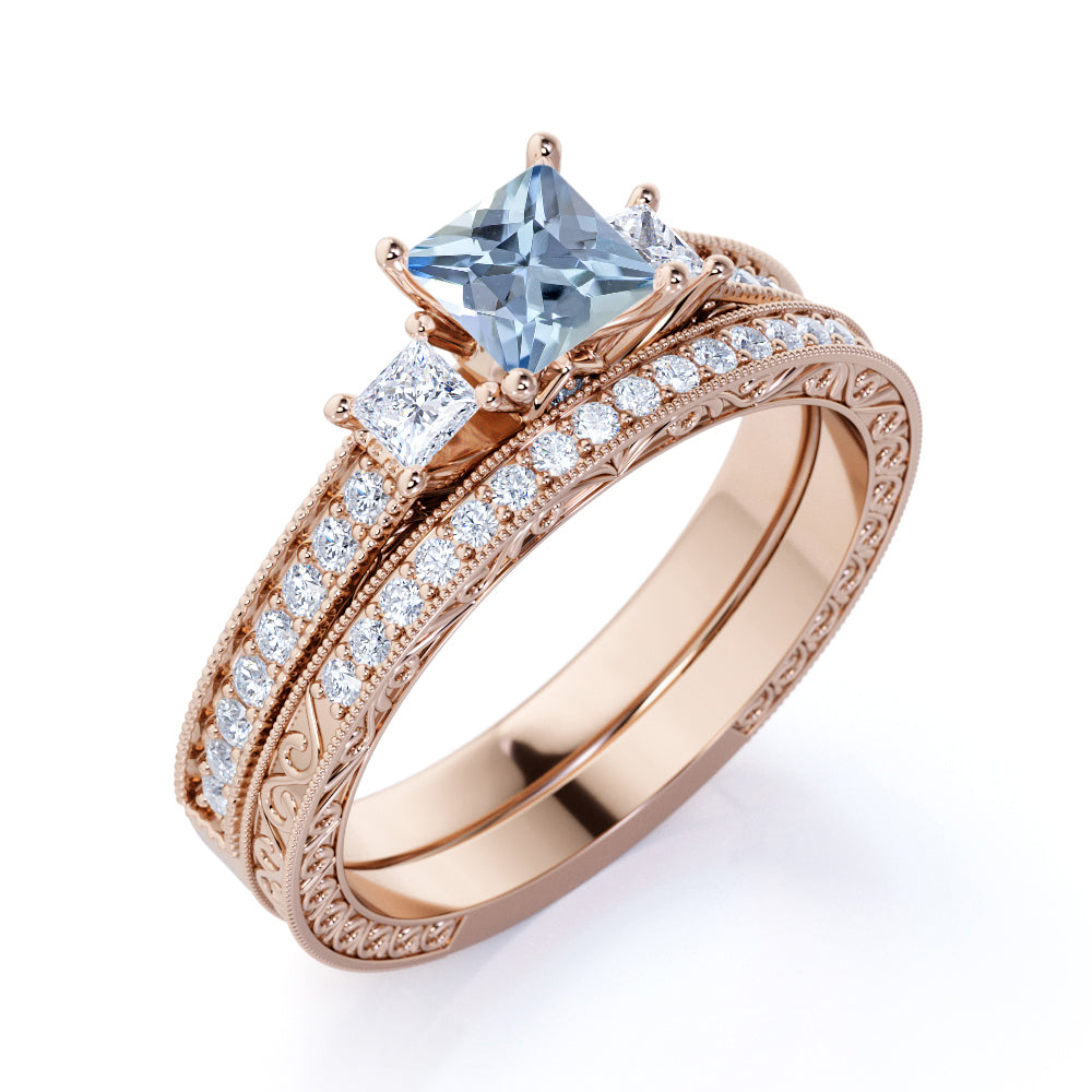 Infinity design 2 Carat princess cut Aquamarine and Diamond Wedding Set in White Gold