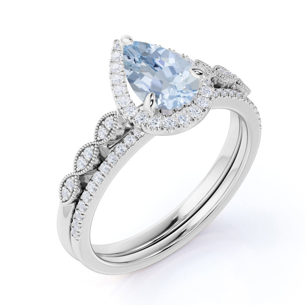 Antique Vintage 1.50 Carat Pear cut Art Deco Halo Engagement Ring with Aquamarine and Diamond for Her in White Gold