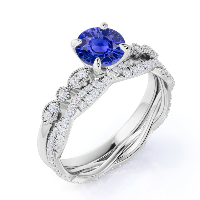Art Deco 2.25 Carat Round Cut Sapphire and Diamond Bridal Ring Set with Infinity Band in White Gold