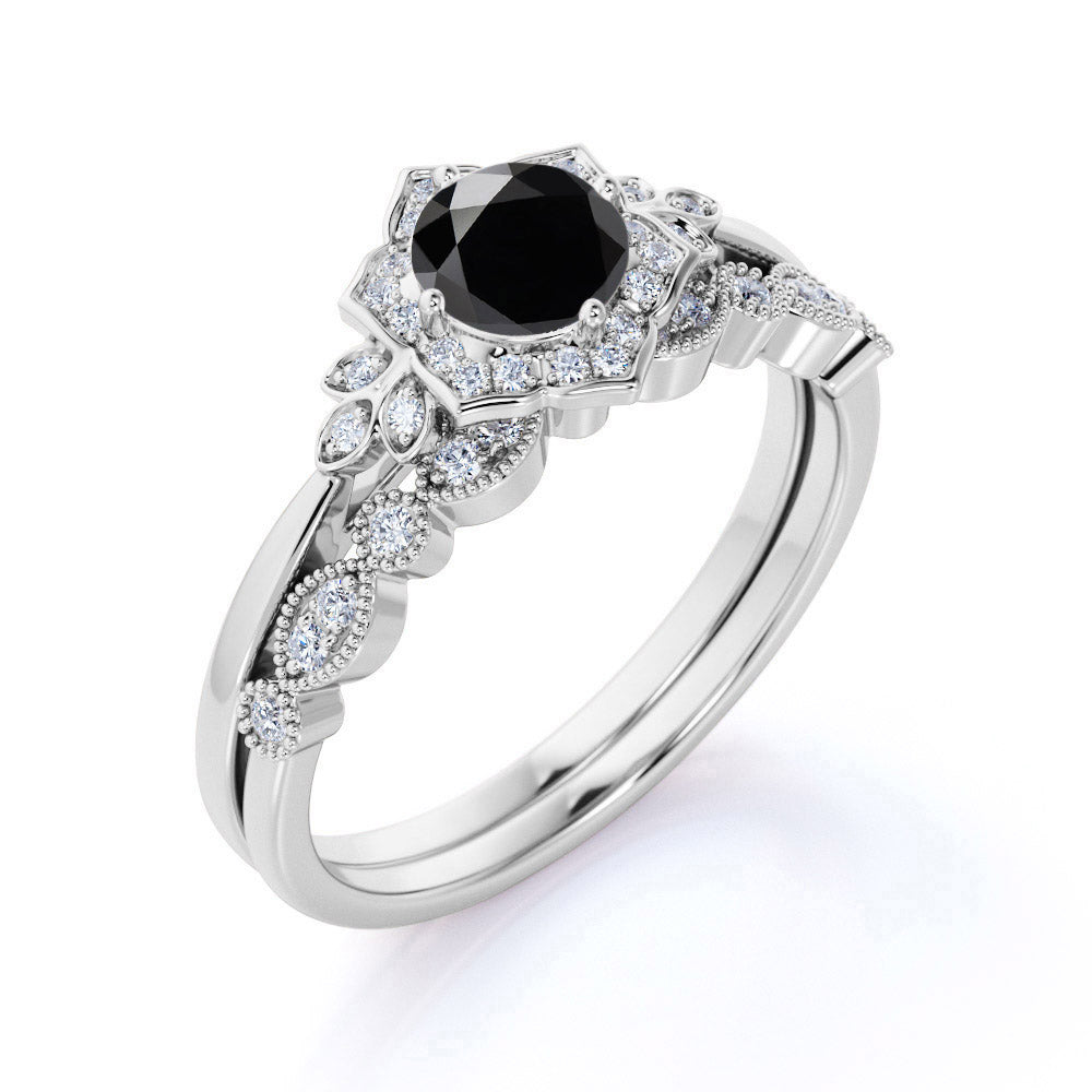 Artdeco 1.25 Carat Round cut Black Diamond Wedding Bridal Ring Set in White Gold