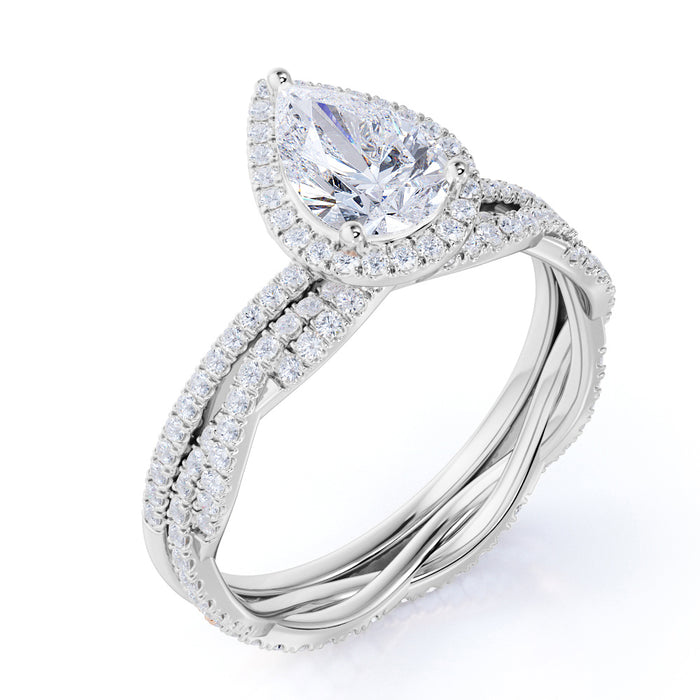 Limited Time Sale 1.50 Carat pear cut Moissanite and Diamond Wedding Ring Set in 10k White Gold