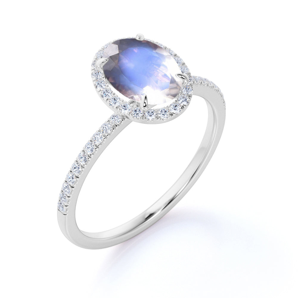 Classic Art Deco 1.50 Carat Oval Cut Rainbow Moonstone and Diamond Halo Engagement Ring in Rose Gold