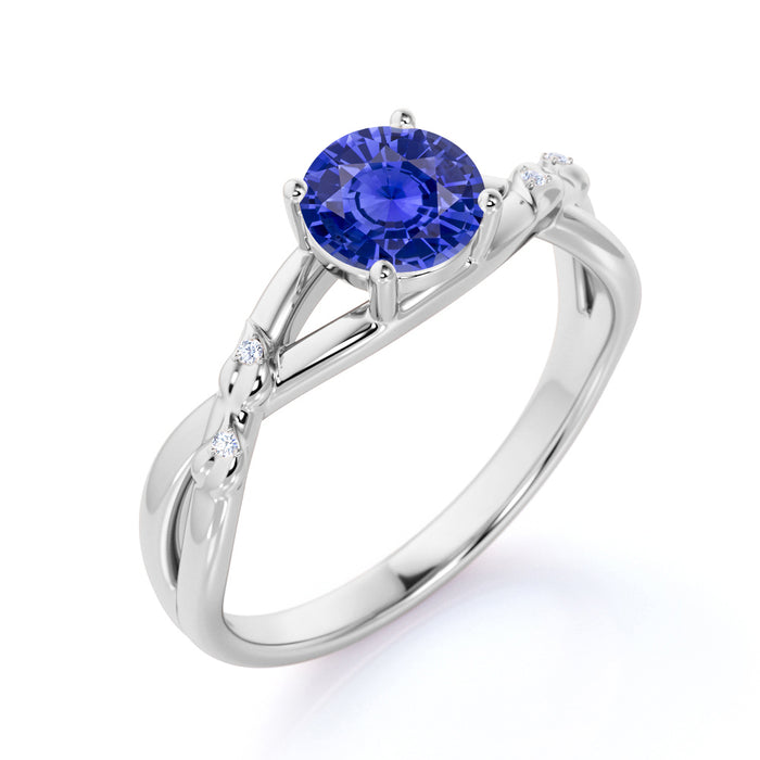 Infinity Twisted 1.50 Carat Round Cut Sapphire and Diamond Engagement Ring in White Gold