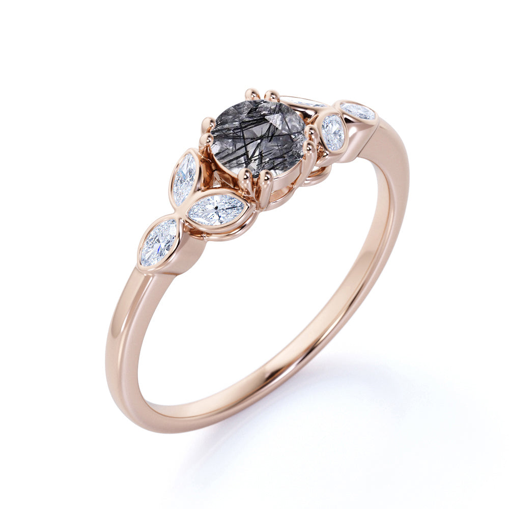 Floral Vintage 1.50 Carat Round Cut Natural Dendritic Black Rutilated Quartz and Diamond Nature-Inspired Bezel Engagement Ring for Women