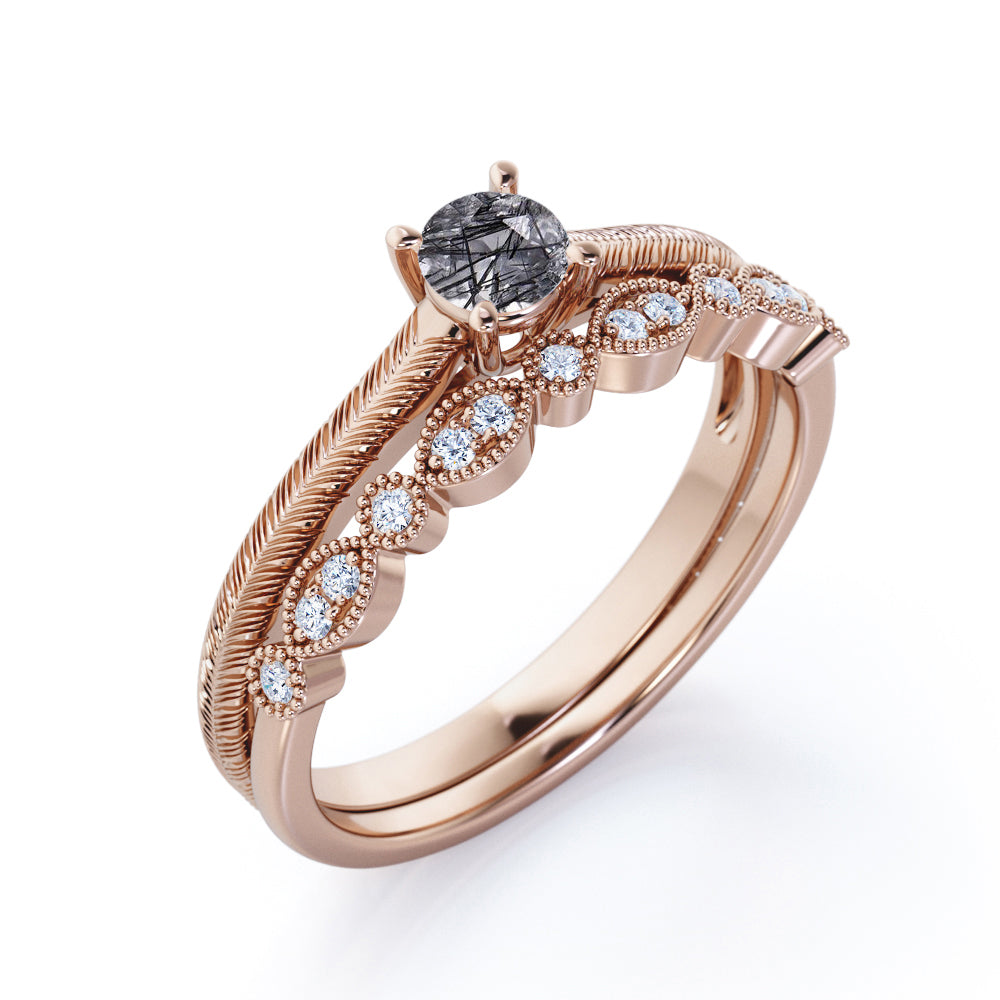 Unique Intricate Filigree Solitaire 1.25 Carat Round Cut Genuine Druzy Black Rutilated Quartz and Diamond Art Deco Band Wedding Ring Sets