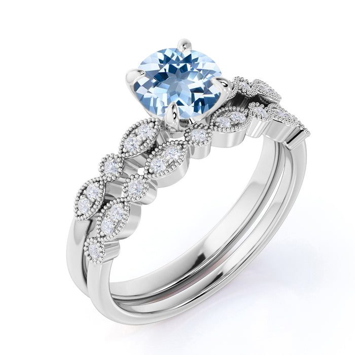 Art Deco antique 1.50 Carat Round cut Aquamarine and Diamond Bridal Ring Set in White Gold