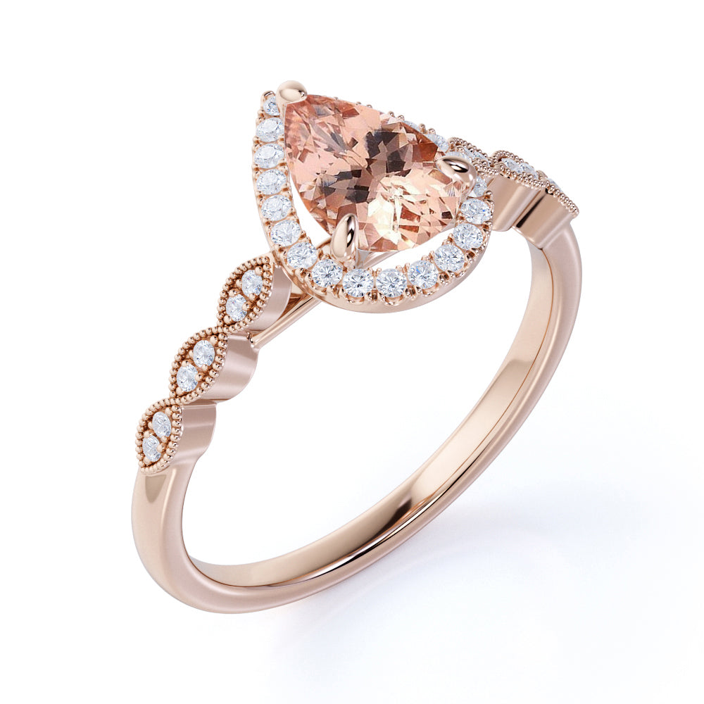 1.50 Carat Pear Cut Real Peach Pink Morganite Halo Engagement Ring in 18k Rose Gold over Silver