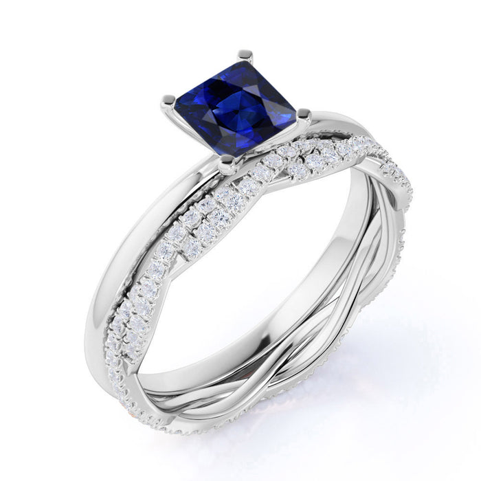Plain Shank 2 Carat Princess Cut Sapphire Bridal Set with Diamond Infinity Wedding Band in White Gold