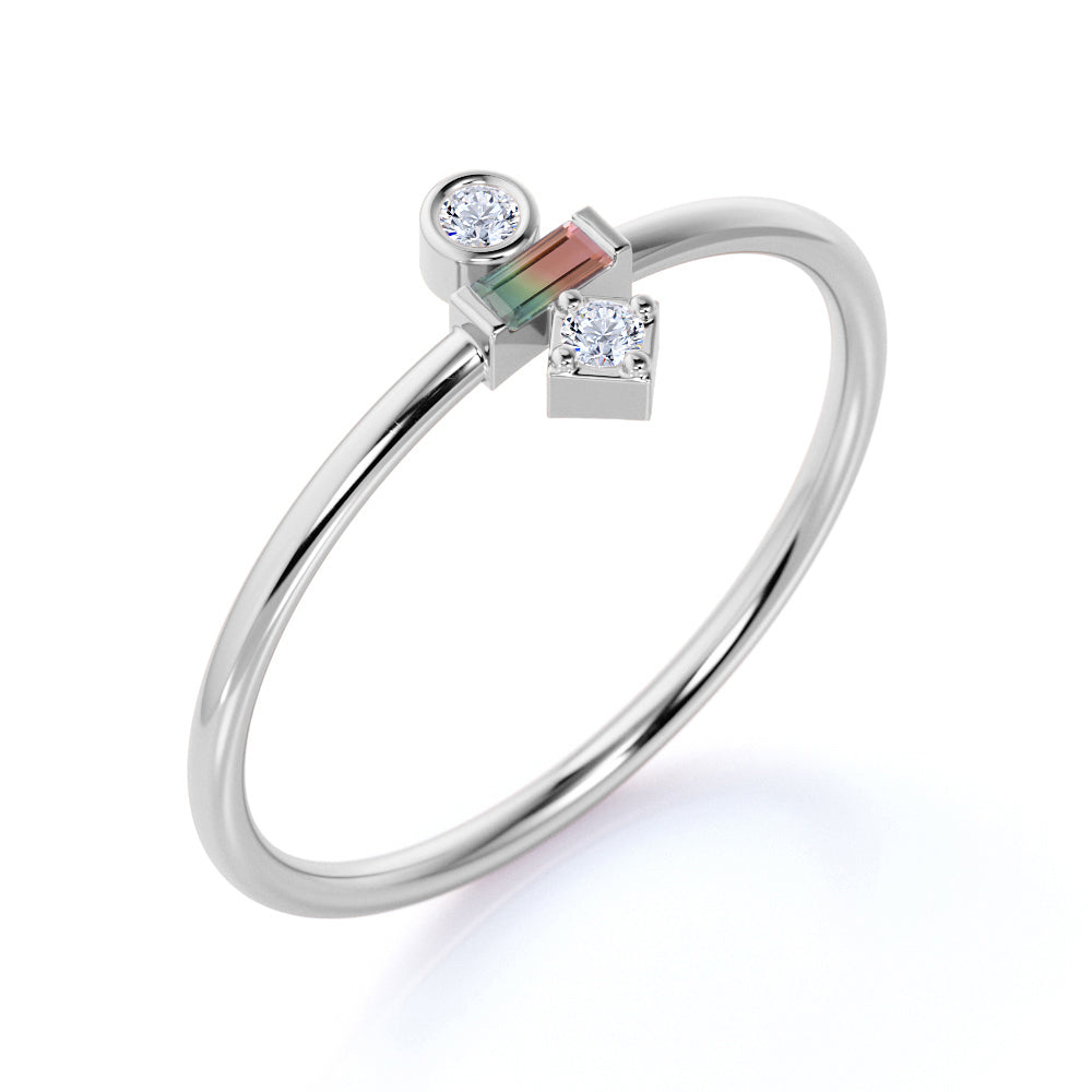 Minimal Baguette Shape Watermelon Tourmaline and 3 Stone Diamond Engagement Ring in White Gold