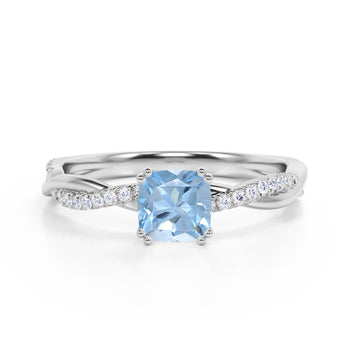 1.25 Carat Infinity Princess Cut Aquamarine and Diamond Engagement Ring in White Gold