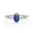 Antique 1.25 Carat Oval cut Sapphire and Diamond Halo Engagement Ring in White Gold