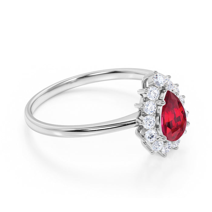 Plain Shank 1.50 Carat Pear Shape Ruby and Diamond Cluster Halo Engagement Ring in White Gold