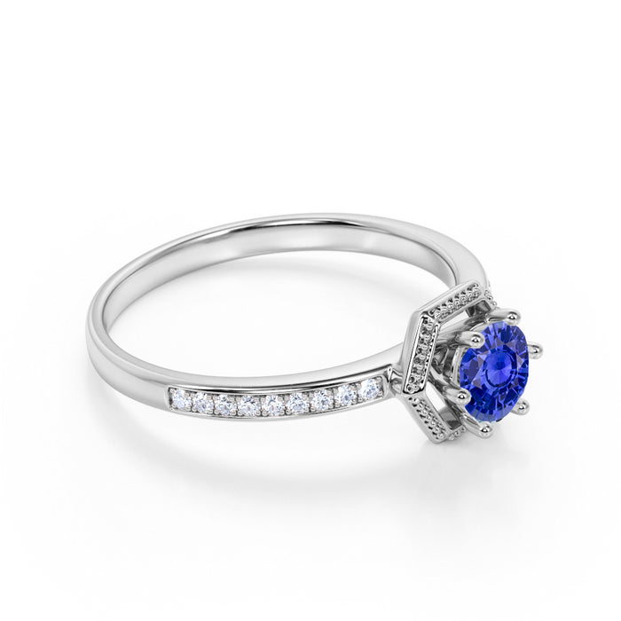 Channel Set 1.25 Carat Round Cut Sapphire and Diamond Engagement Ring in White Gold