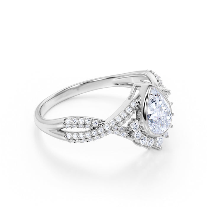 2 Carat Elegant Pear Moissanite and Clustered Diamonds Halo Engagement Ring in White Gold