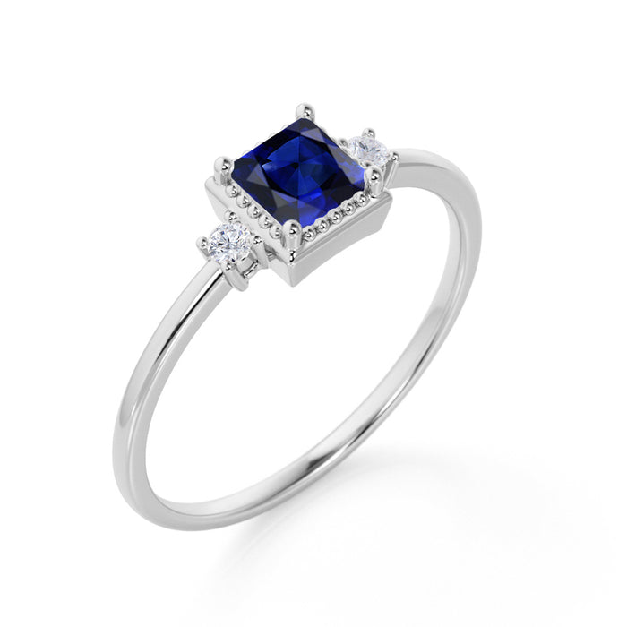 Bestselling 1.25 Carat cushion cut Blue Sapphire and Diamond Engagement Ring