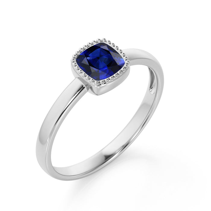 Splendid 1.25 Carat Cushion Cut Sapphire and Diamond Engagement Ring in 10k White Gold