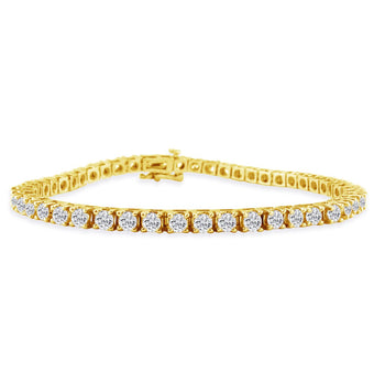 2 Carat 4 prong Diamond Tennis Bracelet for Her in Yellow Gold