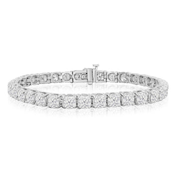 Huge 8 Carat Round cut Diamond Tennis Bracelet for Women in White Gold