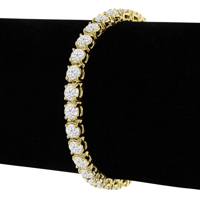 Huge 8 Carat Round cut Diamond Tennis Bracelet for Women in Yellow Gold