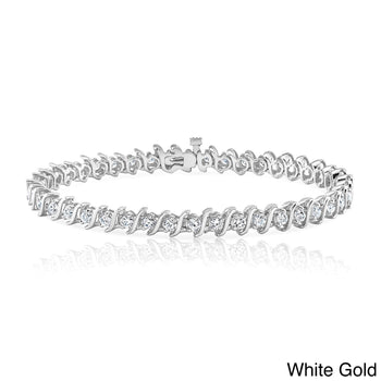 Affordable 1 Carat S Link Diamond Tennis Bracelet for Her in White Gold