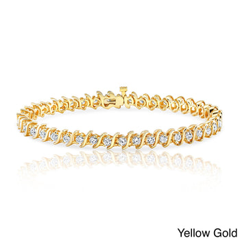 Affordable 1 Carat S Link Diamond Tennis Bracelet for Her in Yellow Gold