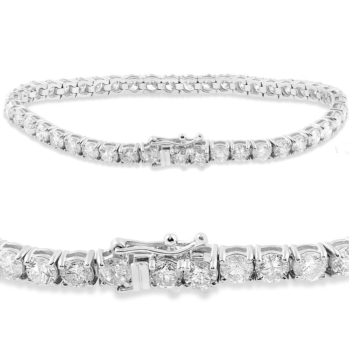 Beautiful 4 Prong 2 Carat Diamond Tennis Bracelet with Round Diamonds in White Gold