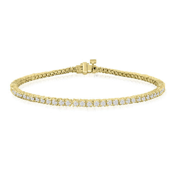 Beautiful 4 Prong 2 Carat Diamond Tennis Bracelet with Round Diamonds in Yellow Gold