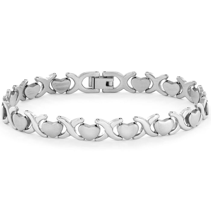 Unique Heart Shape Infinity Design White Gold Tennis Bracelet for Her in White Gold