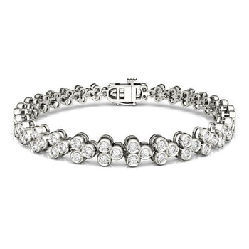 2 Carat Unique 3 Stone design Diamond Tennis Bracelet for Women in White Gold