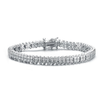 3 Carat Beautiful Two Row 'S' Diamond Tennis Bracelet for Women in White Gold