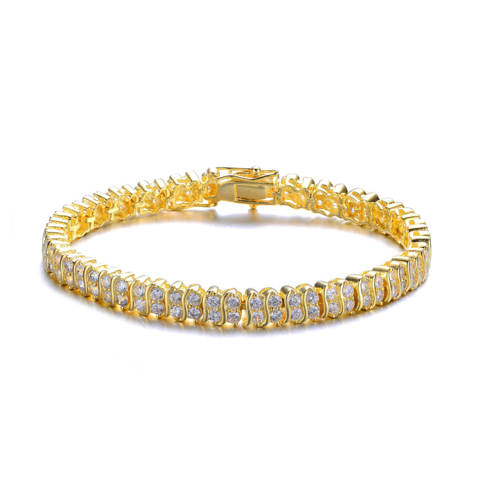 3 Carat Beautiful Two Row 'S' Diamond Tennis Bracelet for Women in Yellow Gold