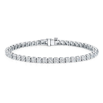 2 carat 4 prong Round cut Diamond Tennis Bracelet for Her in White Gold