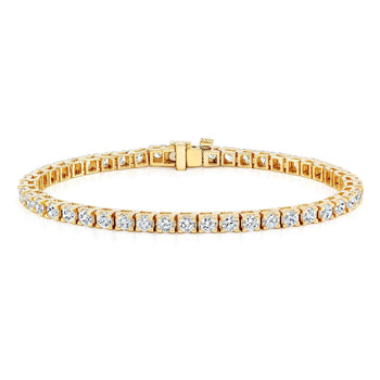 2 carat 4 prong Round cut Diamond Tennis Bracelet for Her in Yellow Gold