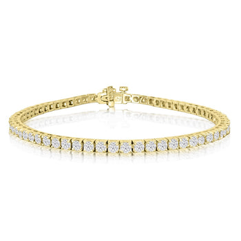 Perfect 3 Carat 4 Prong Round cut Diamond Tennis Bracelet in Yellow Gold