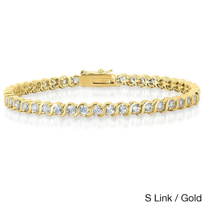 2 Carat S Link Shape Diamond Tennis Bracelet in Gold