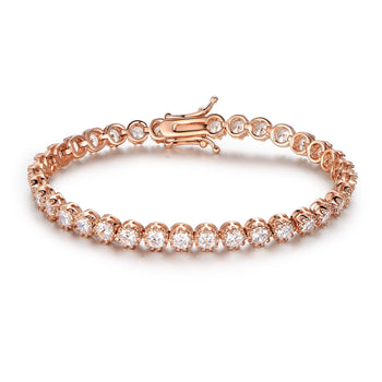 Crown Design 4 Carat Round cut Diamond Tennis Bracelet for Women in Rose Gold