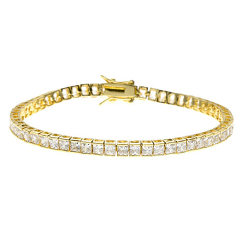 5 Carat Princess cut Diamond Tennis Bracelet for Women in Yellow Gold
