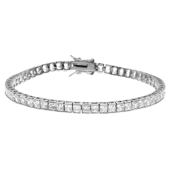 5 Carat Princess cut Diamond Tennis Bracelet for Women in White Gold