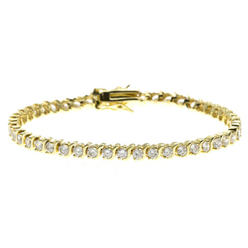 Bestselling 3 Carat Round cut S Shape Diamond Tennis Bracelet in Yellow Gold