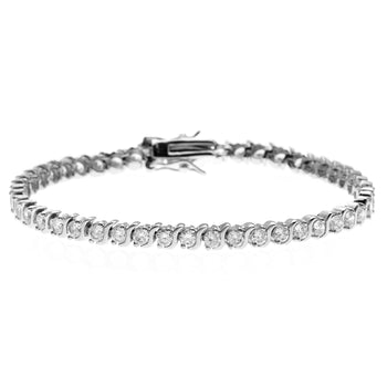 Bestselling 3 Carat Round cut S Shape Diamond Tennis Bracelet in White Gold