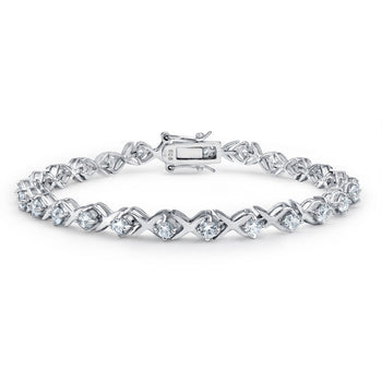 1 Carat X and 0 Round cut Diamond Tennis Bracelet in White Gold