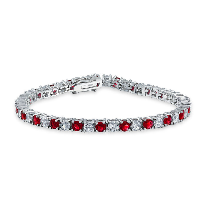 4 Prong 5 Carat Round cut Diamond and Ruby Tennis Bracelet for Women in White Gold
