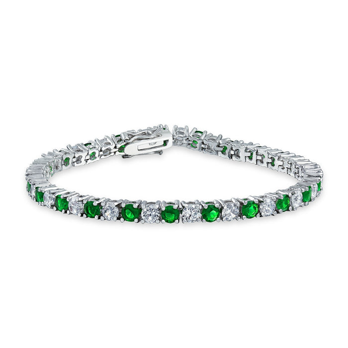 4 Prong 5 Carat Round cut Diamond and Emerald Tennis Bracelet for Women in White Gold